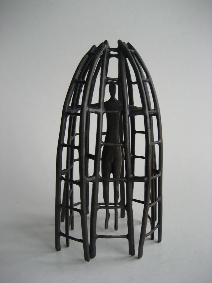 Melissa Young - Caged - cast bronze, 1/8 (two pieces)