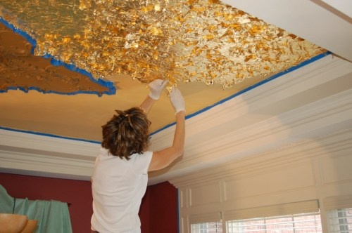 Powder room - DIY Gold Leaf Ceiling (or just metallic gold paint)