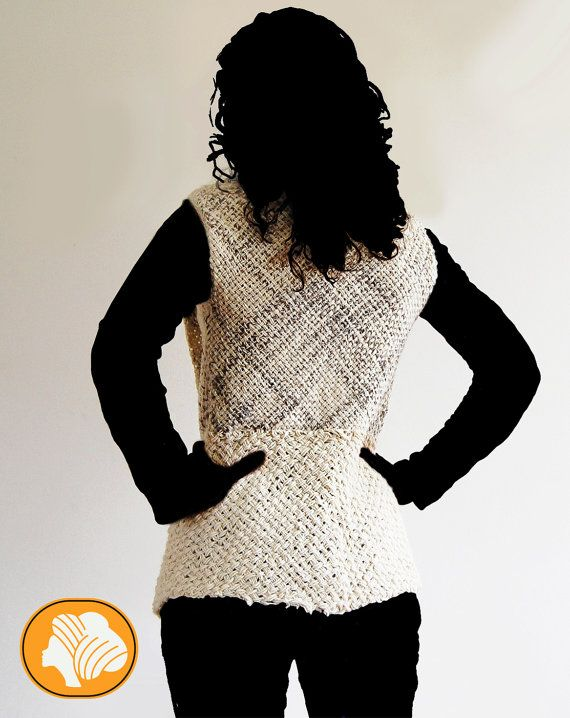 Unique natural flecked tartan wrap vest, brooch for free