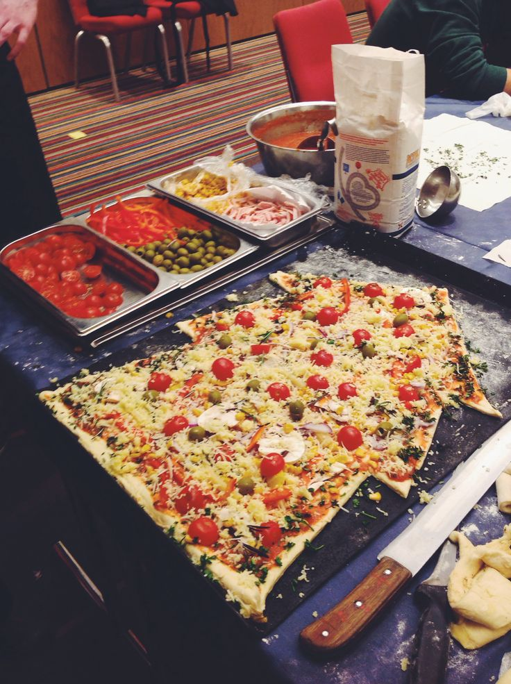 "Our Christmas pizza made by chief together with kids from social orphanage ""Tranzit"". /Park Inn by Radisson Pulkovo Airport/"