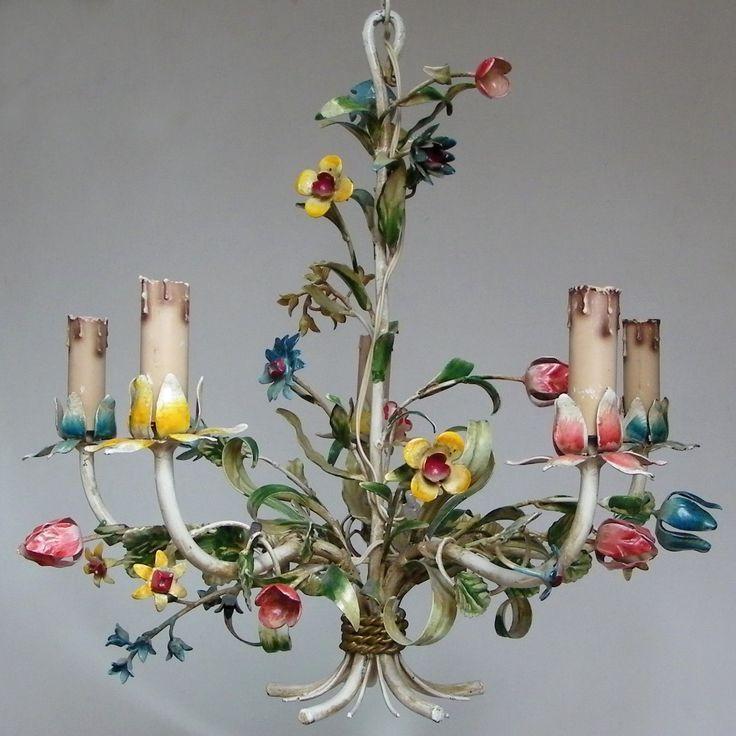 Pretty Vintage Metal Tole Chandelier Painted Flowers Swag