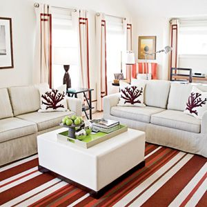HOUSE IN THE HAMPTONS  White Elephant Hotel - I love the coral graphic on white pillow look...