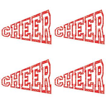 Red Cheer Megaphone Glitter Temporary tattoo