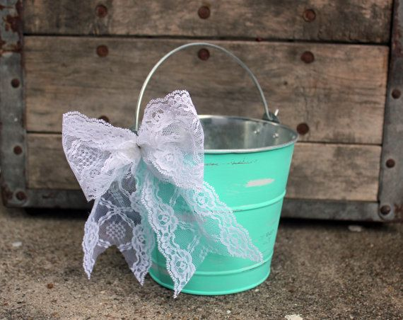 rustic flower girl basket . mint tiffany blue lace wedding flower girl bucket by MontanaSnow