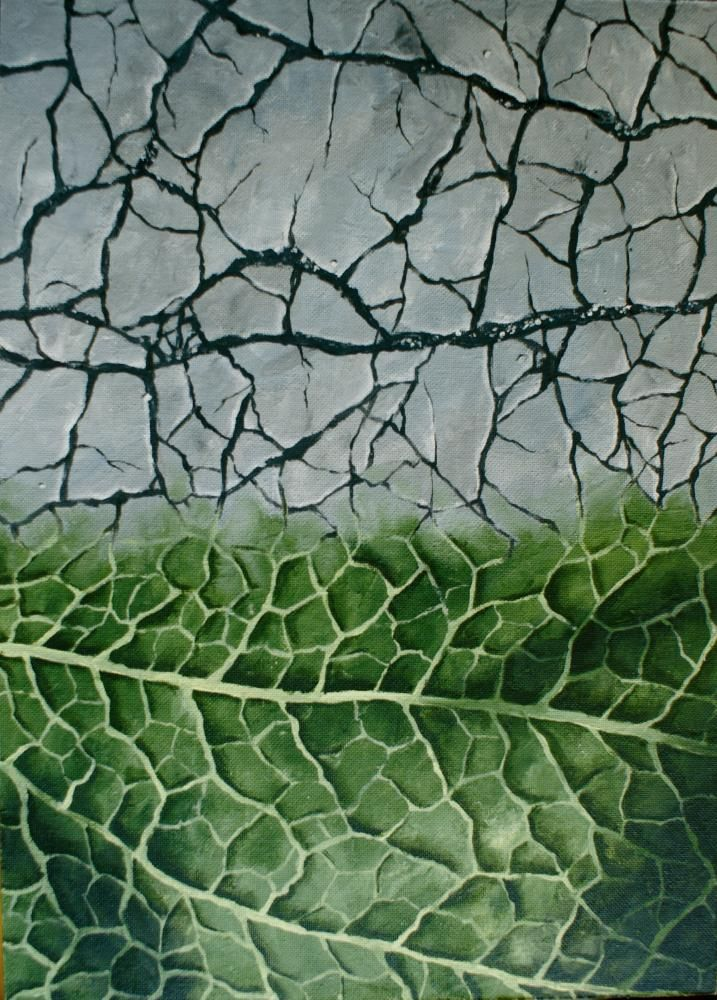 leaf structure, acrylic painting 50 x 70 cm