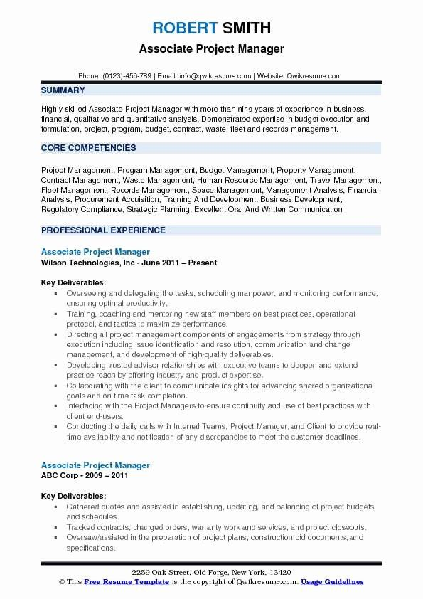 Project Manager Job Description Resume Fresh Associate Project Manager Resume Samples Job Resume Samples Project Manager Resume Manager Resume