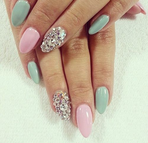 Pastel and bling nail art.  Kelowna Gel Nails.  Lac Sensation Gel Polish Manicures Kelowna