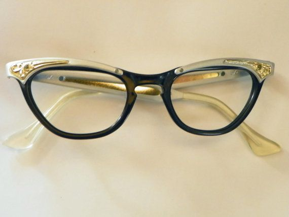 Black And Gold Eyeglass Frames : Vintage Black Silver and Gold Fancy Eyeglasses