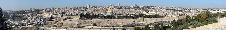 Panorama view of Jerusalem with the Temple Mount, including the Dome of the Rock, seen from the Mount of Olives.