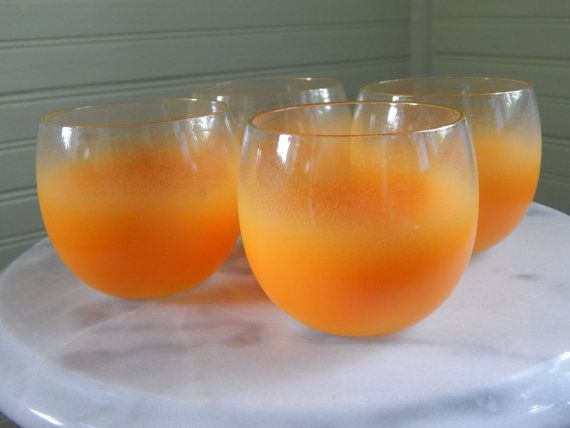 Fabulous Blendo Glasses -- Set of Frosted Glassware -- Glowing Orange Drinking Glasses -- Mid-Century Barware
