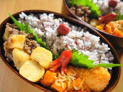 ・にんにく味噌肉じゃが ・にんじんとじゃこの和風炒め ・甘いたまご焼き ・冷凍のエビコロッケ ・たこウインナー ・雑穀米