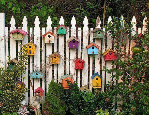 Whimsical White Picket Fence With Many Small Birdhouses. ~ Why Yes, Yes I  Would Love A Bunch Of Colorful Birdhouses On My Fence! So Quaint And  Fun.love It.