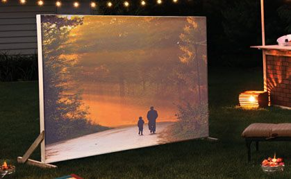 DIY Outdoor Movie Screen with wood and asheet