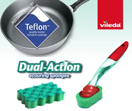 {NEW FROM VILEDA} Brand new Handi Dish Refill featuring our world famous non scratch dual-action scouring technology. It's heavy duty to remove the toughest of dirt but so gentle that it's recommended for use by the makers of TeflonTM. Look for the green refills at Woolworths and online.