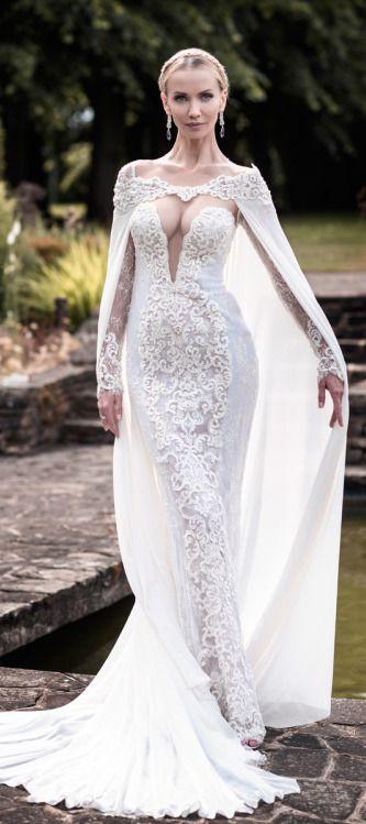 Tatiana Korsakova wearing Berta Bridal Collection 2015 Wedding Dress Cape