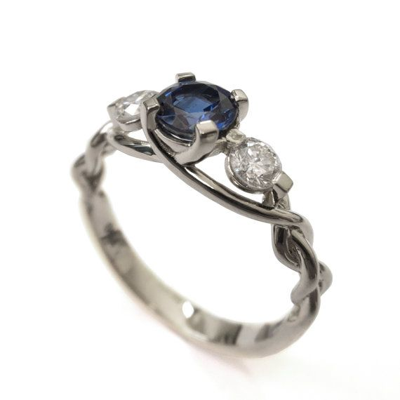 Braided Engagement Ring - Sapphire and Diamond by Doron Merav