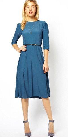 Modest knee length midi dress with 3/4 length sleeves and belt | Mode-sty tznius