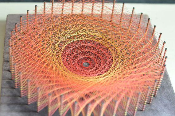Jahrgang Handmase rot Burst String Art Wandgestaltung Runde