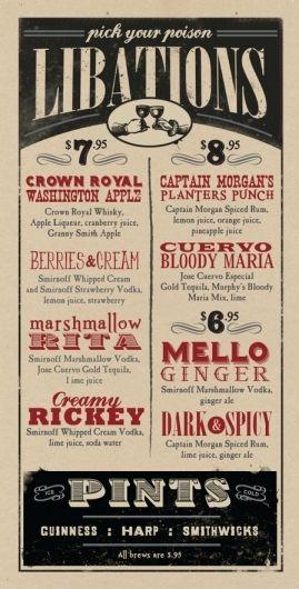 Design Thinking. Use pub menu style for wedding menu or bar list. #weddingmenu