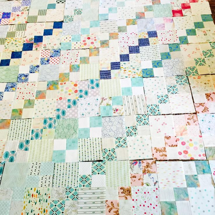 """""""I took some time today and sewed some 4-patches side-by-side with a fabric square. I think this layout will make a sweet little quilt """""""