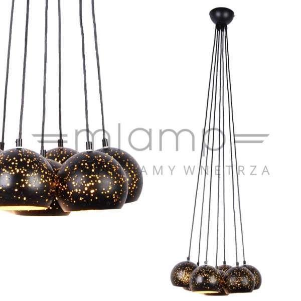 LAMPA zwieszana FRAGOR PEND1066-7-HO-BL+G Zumaline metalowa OPRAWA zwis z dziurkami kule balls złote czarne