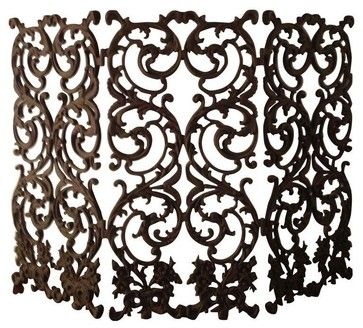 Pre-owned Beautiful Ornate Wrought Iron Fireplace Screen - mediterranean - Fireplace Accessories - Chairish