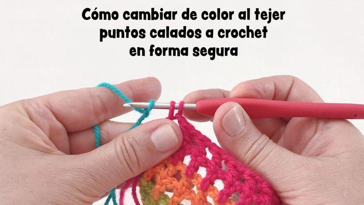 Cómo cambiar de color de lana en puntos calados tejido a #crochet en MODO SEGURO