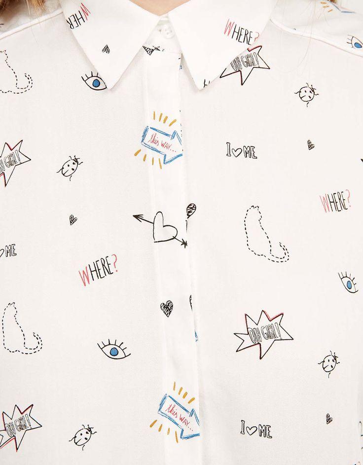 Wzorzysta koszula z nadrukami - Dziewczyna BSK - Bershka Poland