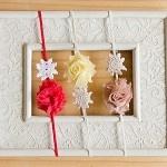 Mini Camellia Red, Lemon, Beige, Flower Vintage Doily Headband - by 16feathers on madeit