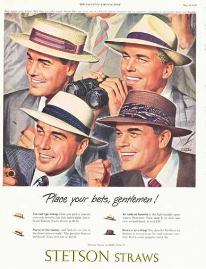 1949 stetyson straw hats men