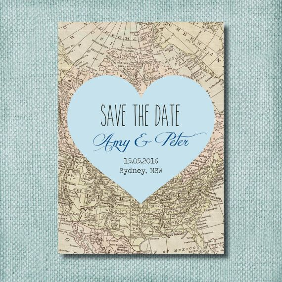 Heart Map Sea Blue Save the Date Invitation ~ DIY PRINTABLE ~ Professional Printing