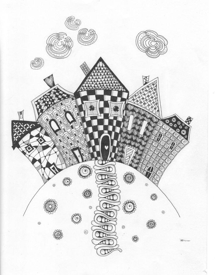 zentangle inspired art. row of houses .