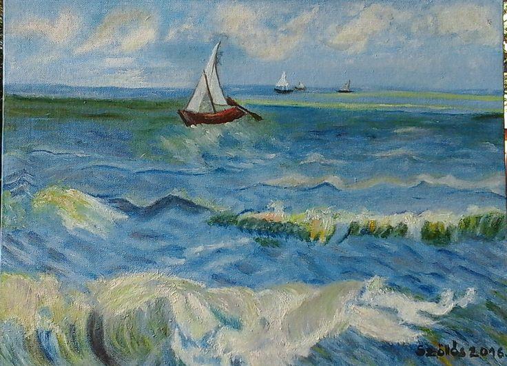 created by:  Szöllős Éva - Sea, oil, 30x40 cm canvas (Original: Vincent Van Gogh - The Sea at Les Saintes Maries dela Mer)   Innen pinelve: nataliakoptseva.tumblr.com