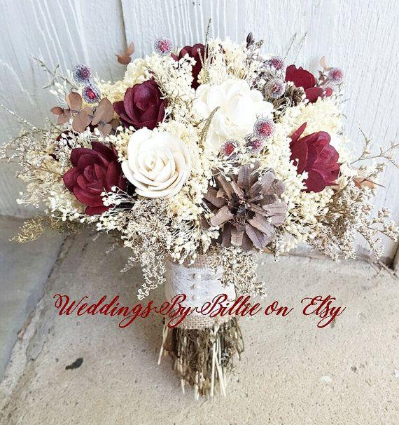 Fall Bouquets, Burgundy Cranberry Pinecone Bouquet, Burlap Lace,Sola Bouquet,Alternative Bouquet,Rustic Shabby Chic ,Bride, Keepsake Bouquet
