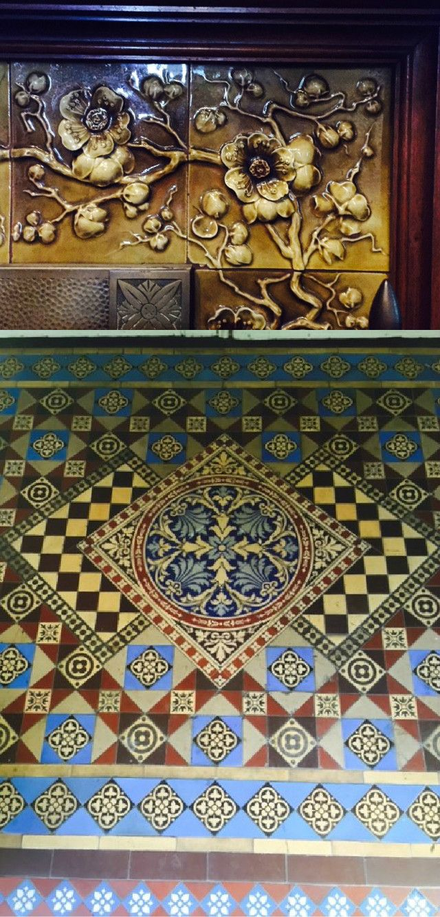 Original tiles at the Llewellyn Williams mansion (Sacramento International Hostel) include the encaustic tile entry and fireplace surround.