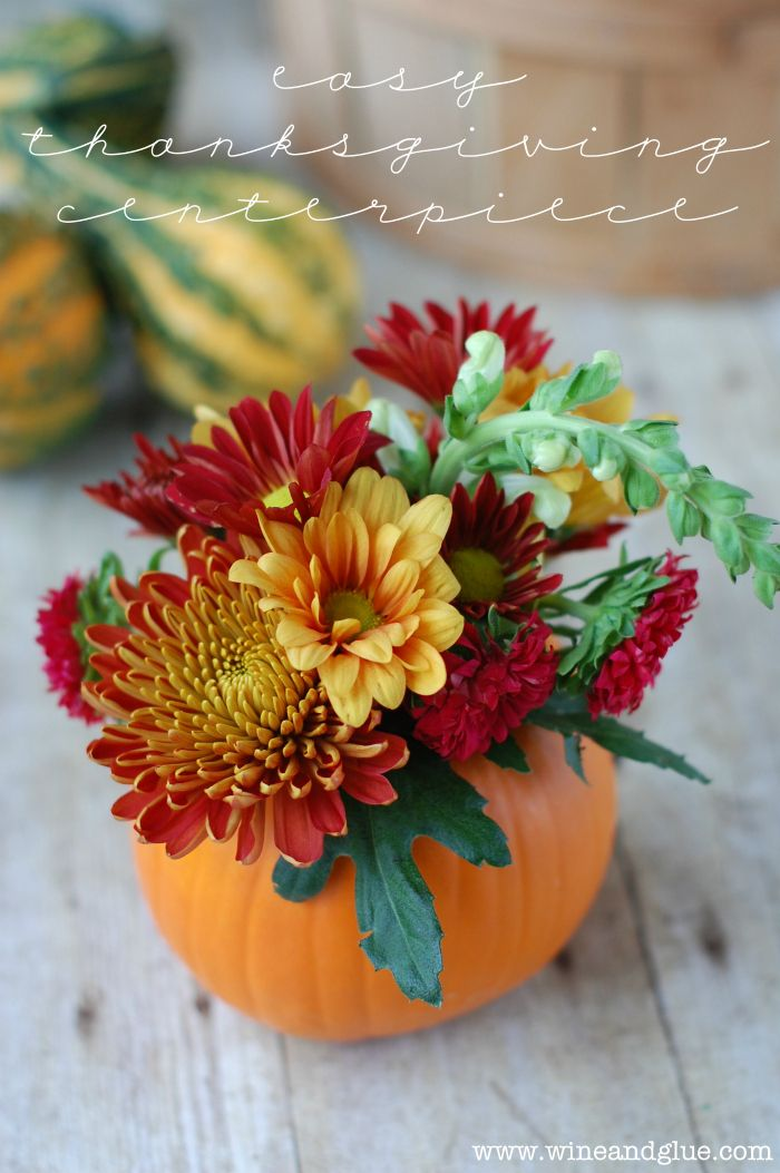 DIY Thanksgiving Centerpiece. How easy and cute are these? Love! #pumpkin #thanksgiving