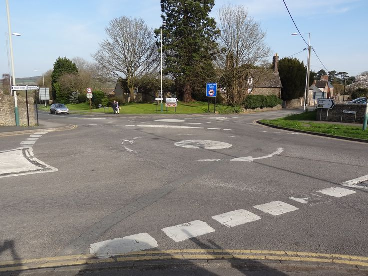 Double roundabout connecting Brewery Street, High Street, Eastrop and Roundhills Mead in the market town of Highworth, Wiltshire, England.