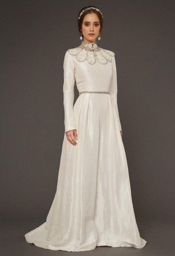 078665dc42 VAZILIKI / long sleeve ivory wedding dress a line wedding gown cover ...