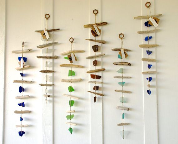 Sea Glass Amp Driftwood Mobile Wall Hanging Rustic Decor