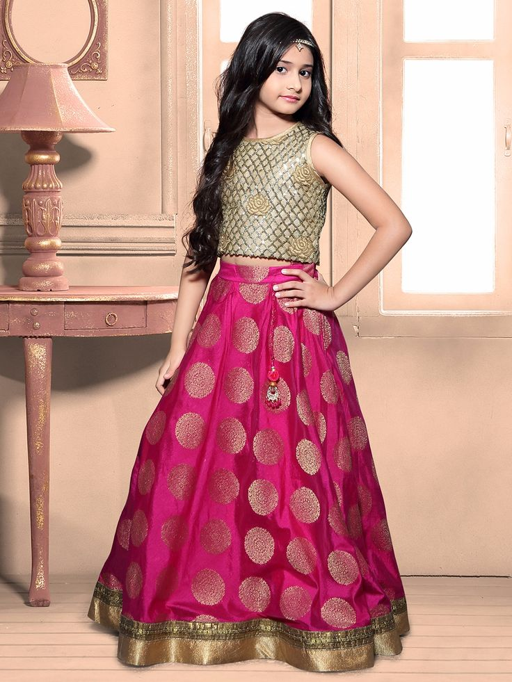 Magenta Silk Zari Work Wedding Choli Suit #Lehenga #Magenta #Wedding