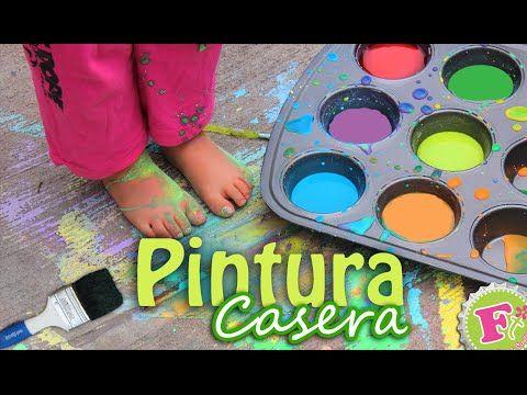 Cómo hacer pintura casera para niños | Manualidades Fáciles - YouTube