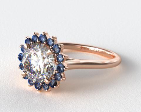 14K Rose Gold Blue Sapphire Pave Sunburst Engagement Ring