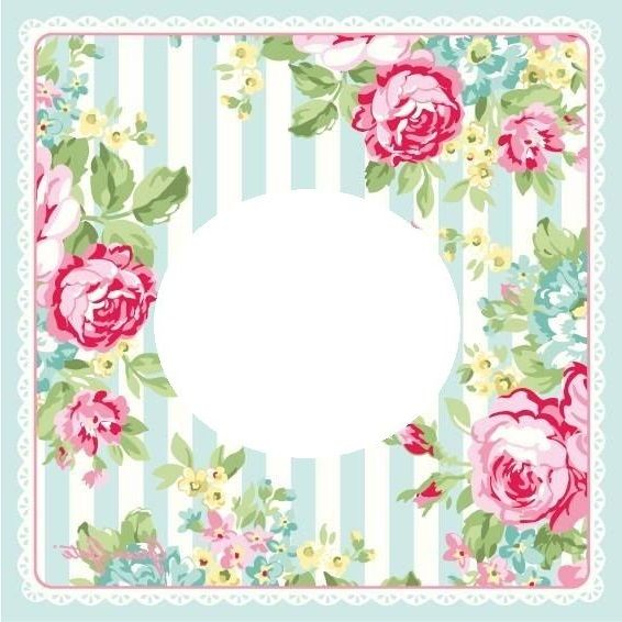 Blue striped background with rose border