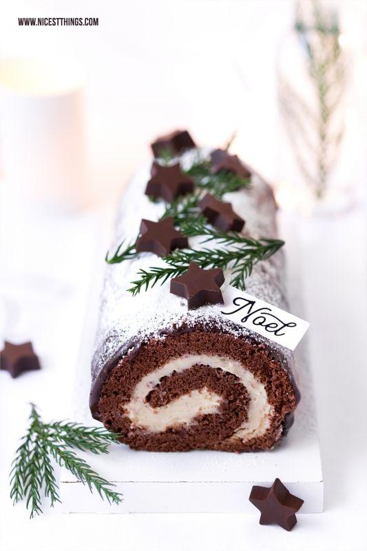 Bûche de Noël Rezept Maronen Schokolade Biskuitrolle