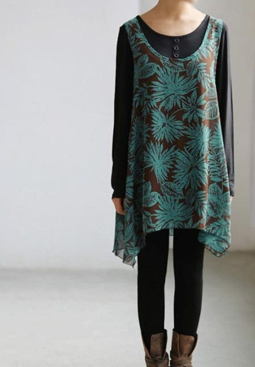 Gentle fragrance/ black cotton long t shirt/ Double by MaLieb, $69.00