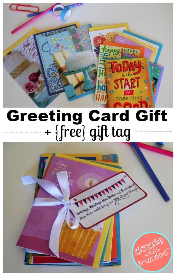 How To Give A Year S Worth Of Greeting Cards With Diy Greeting Card Bundle Free Printable Gift Tag Gift Tags Printable Gift Tags Diy Hallmark Greeting Cards