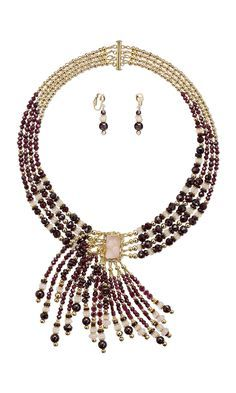 Jewelry Design - Multi-Strand Necklace and Earring Set with Garnet Gemstone Beads, Rose Quartz Gemstone Beads and 14Kt Gold-Filled Beads - Fire Mountain Gems and Beads