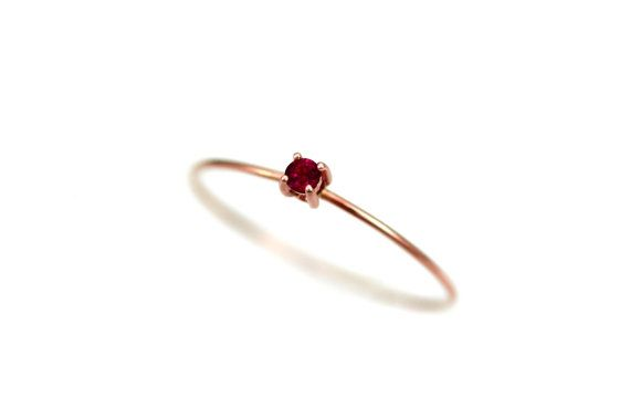 Ruby Ring Gold, Ruby Engagement Ring Simple, Thin Birthstone Ring stackable…