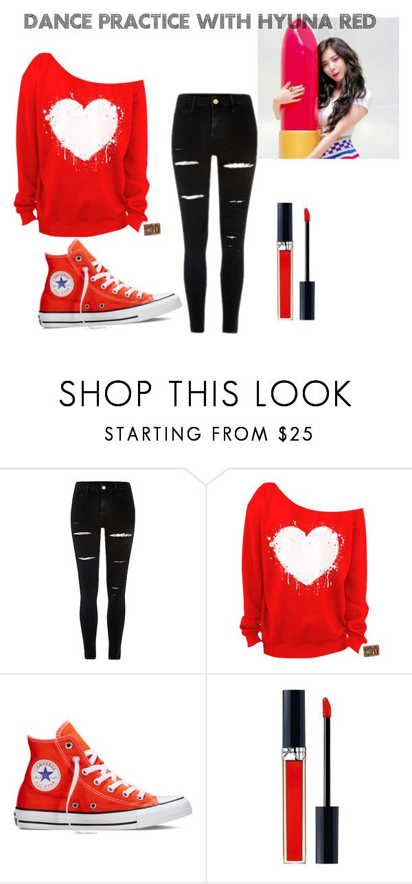 """""""Dance practice with Hyuna RED"""" by kaylakool ❤ liked on Polyvore featuring Converse and Christian Dior"""
