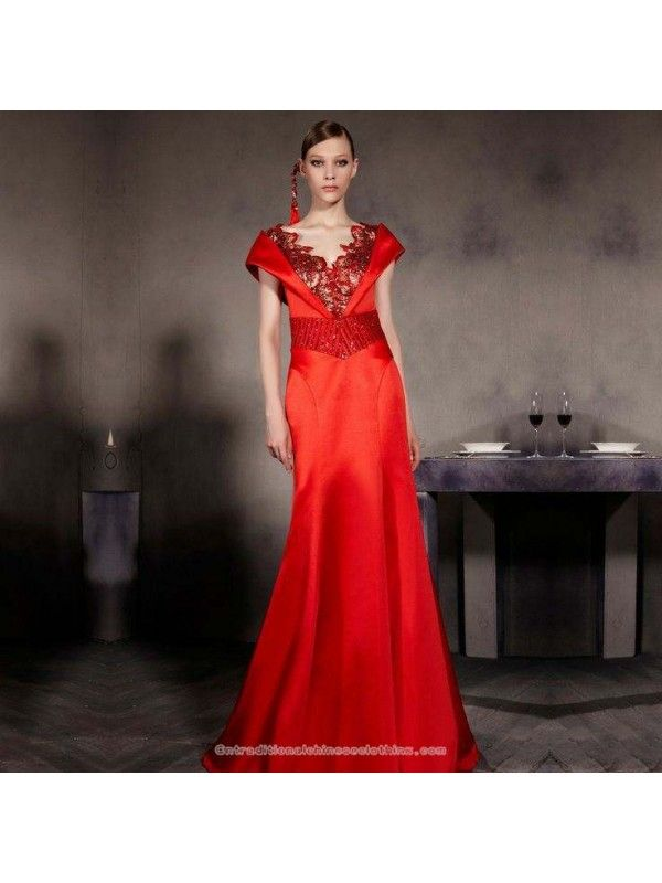 Embroidered Floral Open V Neck Floor Length Ball Gown Sleeveless Chinese Red Bridal Wedding Evening Dress Evening Dresses For Weddings Ball Gowns Chinese Bridal Dress,50 Year Old Wedding Dress
